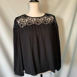 Loft petite blouse crochet top loose sleeves